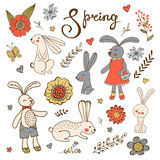 Cute hand drawn collection of bunnies rabbits and flowers Stock Images