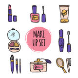 Cute hand drawn collection of cosmetics objects Stock Image