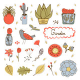 Cute hand drawn collection of house plants, flowers and twings. Royalty Free Stock Image
