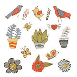 Cute hand drawn collection of house plants Royalty Free Stock Images