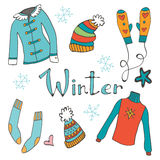 Cute hand drawn collection of winter clothing Stock Photos