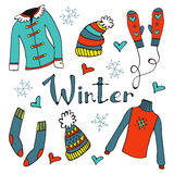 Cute hand drawn collection of winter clothing Stock Images