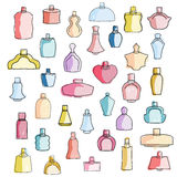 Cute hand drawn colorful perfume bottles. Cute hand drawn different colorful perfume bottles Stock Illustration