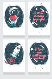 Cute hand drawn cosmic cards for valentine's day Stock Images