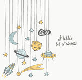 Cute hand drawn cosmic doodle card Royalty Free Stock Photos