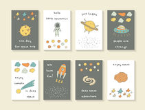 Cute hand drawn cosmic doodle cards Royalty Free Stock Image