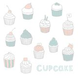 Cute Hand drawn cupcakes. Vector EPS 10 illustration Royalty Free Stock Photos
