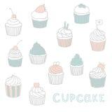 Cute Hand drawn cupcakes. Vector EPS 10 illustration stock illustration