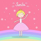 Cute hand drawn with cute little girl vector illustration. Royalty Free Stock Photo