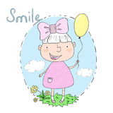 Cute hand drawn with cute little girl vector illustration. Stock Photography