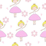 Cute hand drawn with cute little girl vector seamless pattern illustration.  Stock Photo