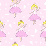 Cute hand drawn with cute little girl vector seamless pattern illustration Royalty Free Stock Photo