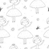 Cute hand drawn with cute little girl vector seamless pattern illustration Stock Image