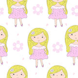 Cute hand drawn with cute little girl vector seamless pattern illustration Royalty Free Stock Photography