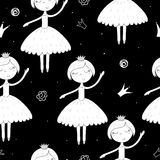 Cute hand drawn with cute little girl vector seamless pattern illustration Royalty Free Stock Images