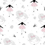 Cute hand drawn with cute little girl vector seamless pattern illustration Stock Photo