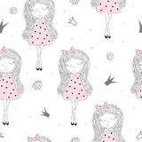 Cute hand drawn with cute little girl vector seamless pattern illustration Royalty Free Stock Photos
