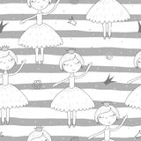 Cute hand drawn with cute little girl vector seamless pattern illustration Stock Images