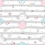 Cute hand drawn with cute little girl vector seamless pattern illustration Stock Photos