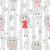 Cute hand drawn with cute little girl vector seamless pattern illustration.  Royalty Free Stock Photos