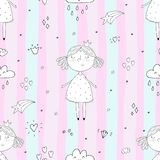 Cute hand drawn with cute little girl vector seamless pattern illustration.  Stock Photography