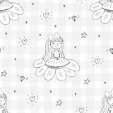 Cute hand drawn with cute little girl vector seamless pattern illustration.  Stock Photos