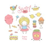 Cute hand drawn dessert doodles with fairy Royalty Free Stock Photos