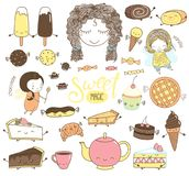 Cute hand drawn dessert doodles with girl fairies Royalty Free Stock Image