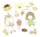 Cute hand drawn dessert doodles with unicorn and fairy. Set of different hand drawn sweet food doodles, with kawaii cartoon faces, cute fairy girl, unicorn Stock Photo