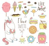 Cute hand drawn dessert doodles with unicorn Royalty Free Stock Photos