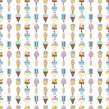 Cute hand drawn with different types of ice cream. Doodle texture with sweet desserts Stock Photography