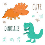 Cute hand drawn dinosaurs set. vector print stock illustration