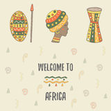 Cute hand drawn doodle africa theme card Royalty Free Stock Image