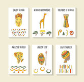 Cute hand drawn doodle africa theme cards Royalty Free Stock Photo