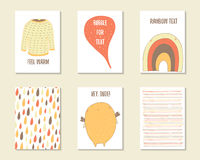 Cute hand drawn doodle baby shower, birthday, party cards Stock Image