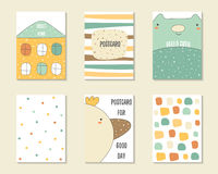 Cute hand drawn doodle baby shower, birthday, party cards Stock Photography