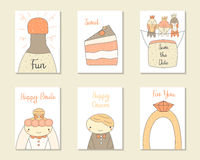 Cute hand drawn doodle baby shower, birthday, party cards Stock Photos