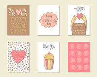 Cute hand drawn doodle baby shower, birthday, party cards Stock Images