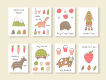 Cute hand drawn doodle baby shower cards Royalty Free Stock Image
