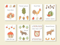 Cute hand drawn doodle baby shower cards Royalty Free Stock Images