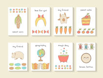 Cute hand drawn doodle baby shower cards, brochures. Invitations royalty free stock photography