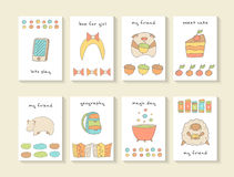 Cute hand drawn doodle baby shower cards, brochures Stock Photo