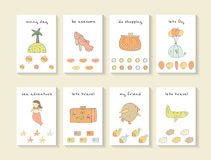 Cute hand drawn doodle baby shower cards. Brochures, invitations royalty free stock image