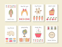 Cute hand drawn doodle baby shower cards. Brochures, invitations royalty free stock photo