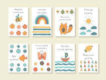 Cute hand drawn doodle baby shower cards Royalty Free Stock Photos