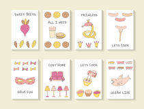 Cute hand drawn doodle baby shower cards Stock Photo