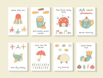 Cute hand drawn doodle baby shower cards Stock Image