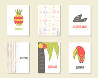 Cute hand drawn doodle birthday, party, baby shower cards Stock Photos