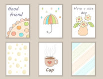 Cute hand drawn doodle birthday, party, baby shower cards, brochures, invitations with cup, flowers, umbrella, rain. Objects backg Stock Photo