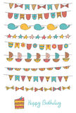 Cute hand drawn doodle birthday, party flags Stock Photos